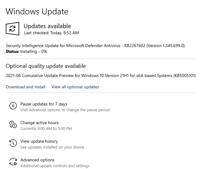 sometimes. windows update installation stuck at 0